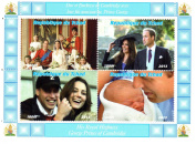 Royal baby stamps for stamp collecting - The Royal Baby Prince George, Kate Middleton, Prince William, Prince Charles and Princess Diana miniature commemorative stamps - 4 mint stamps on an never hinged stamp sheet - never mounted