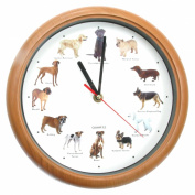 Dog Wall Clock - Quartz Barking Dog Wall Clock - Optional Barking Chime! - Labrador Poodle Terrier Boxer Bulldog Golden Retreiver