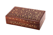 Christmas Gifts Gorgeous Rosewood Jewellery Storage Keepsake Decorative Box Organiser With Floral Brass Inlay & Red Velvet Interiors