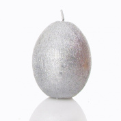 2 Silver Egg Shaped Candles | Metallic Silver Sparkly effect