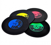 WOLFTEETH 4 x Vinyl Record Cup Mat Retro Vinyl Drink Coasters