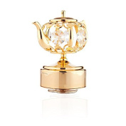 24k Gold Plated Teapot Music Box Made with Genuine Matashi Crystals