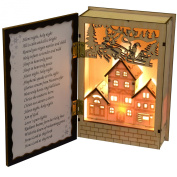 WeRChristmas Pre-Lit Musical Wooden Opening Book with LED Lights, Warm White