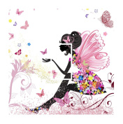 Sticar-it Ltd Pretty Pink Fairy Princess With Flowers and Butterfly Motif Light Switch Sticker vinyl cover skin decal For Any Room