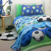 FOOTBALL BLUE GREEN WHITE BLACK SINGLE DUVET SET