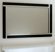 Alison Black Glass Framed Rectangle Bevelled Wall Mirror 120cm x 80cm Extra Large