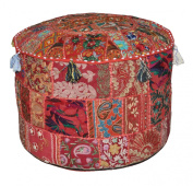 Indian Traditional Home Decorative Ottoman Handmade and Patchwork Foot Stool Floor Cushion, 58 X 33 Cm