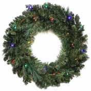 WeRChristmas 60 cm Pre-Lit Wreath Christmas Decoration Illuminated with 20 Multi-Colour LED Lights