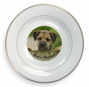 """Border Terrier Puppy Dog """"Yours Forever..."""" Gold Leaf Rim Plate n Gift Box"""