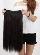 Beauti-gant Clip in Extensions Synthetic Hair-pieces Half Full Head 60cm Curly 5 Clips 140G,Dark Brown