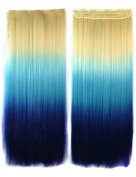 ABWIN 60cm Blonde to Sky Blue to Sapphire 3 Ombre Colour Straight Full Head Clip in Hair Extensions
