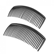 2PCS Black Plastic 29 Teeth Hairstyle Hair Clip Comb for Ladies