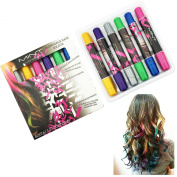 Hair Chalk - Metallic Glitter Temporary Hair Colour - Edge Chalkers - No Mess - Built in Sealant - Works on All Hair Colours - Colour Essentials Set (6 Count) By SySrion®