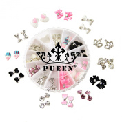 PUEEN 3D Nail Charms Wheel of 24pcs Resin & Alloy Rhinestones Nail Art Decoration Bow Flower DIY for Nails & Cell Phones-BH000348