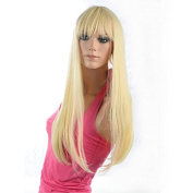 Attractive Full Bang Blond and Drape Ombre Design Long Cosplay Synthetic Wig for Women