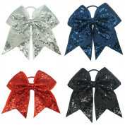 CN Two Layer Big School Colour Sequin Cheer Bow with Elastic Tie for Cheerleading Girls