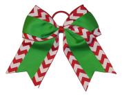 "New ""CHRISTMAS CHEVRON Grosgrain"" Cheer Bow Pony Tail 7.6cm Ribbon Girls Cheerleading Dance Practise Football Games Uniform Holiday"