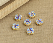 Luoyi 1pc Golden Plated Sterling Silver Enamel Flat Bead, Round with Carp, Cloisonne Spacer Bead, 15*6mm, Hole