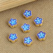 Luoyi 2pcs Golden Plated Sterling Silver Enamel Flat Beads, Plum Blossom Flower Cloisonne Spacer Beads, 7*4mm, Hole