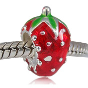 Choruslove Fruit Strawberry with Red and Green Enamel 925 Sterling Silver Bead for European Bracelet