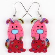 Cute Bonsny Dog Acrylic Earrings-1 Pair Red