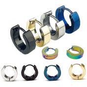 Blovess 5 Pairs Men Unisex Stainless Steel Small Hoop Earrings Ear Stud