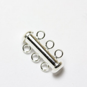 2pcs 925 Sterling Silver Jewellery findings 3-strand Slide lock Clasp,20*6mm