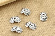 Luoyi Thai Silver Bead Flower Caps, Sunflower, 12mm, Hole