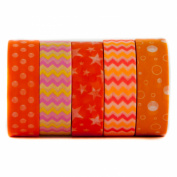 Tangerine Orange Themed Decorative Washi Masking Tape - For Scrapbooking, Art & Decoration Projects - Orange, Polka Dot, Zig Zag, Stars, Bubbles - (15mm x 10m) - By Washi.Design