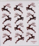 2 Sheets - Christmas Red Reindeer Stickers