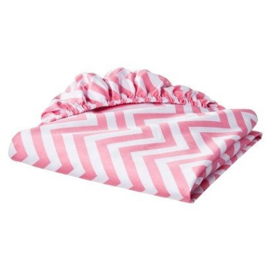 Circo® 100% Cotton Woven Chevron Fitted Baby Crib Sheet pink