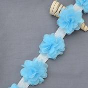 1 Yard 14 pcs Light Blue Chiffon Rose Lace Trim Shabby Flower Lace Chiffon Flower Lace Felt Pad Bridal Garter Headband LA095