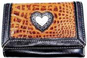 Silver Heart Leather Wallet,brown,alligator Print,bi-fold