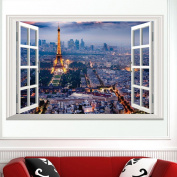 Fange DIY Removable Paris At Night 3d Window View Art Mural Vinyl Waterproof Wall Stickers Living Room Decor Bedroom Decal Sticker Wallpaper 60cm x 40cm