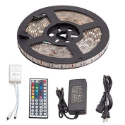 Minger Waterproof Music LED Strip Light 5m 300leds RGB SMD 5050 Colour Changing Full Kit with 44-keys IR Music Remote Controller & 5A Power Supply for Home Lighting, Kitchen, Christmas, Indoor & Outdoor Decoration