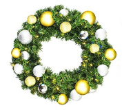 Queens of Christmas WL-GWSQ-04-TREAS-LWW Pre-Lit LED Sequoia Wreath Decorated with The Treasure Collection, 1.2m, Warm White