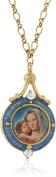 "Symbols of Faith ""Inspirations"" 14k Gold-Dipped Blue Enamel Mary and Child Locket Necklace"