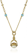 """Symbols of Faith """"Inspirations"""" 14k Gold-Dipped Triple Spinner Simulated Pearl Mary Cameo Pendant Necklace"""
