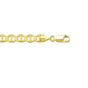 "14k Solid Yellow Gold Anchor Mariner Chain Bracelet/ankelet 3.5 Mm 7""-10"" (M080"