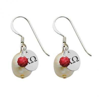 Chi Omega Silver, Colour and Cultured Freshwater Pearl Drop Earrings