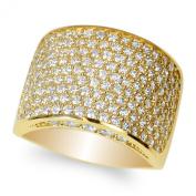JamesJenny Ladies 10K Yellow Gold Round CZ Embedded Beautiful Band Ring Size 5-10