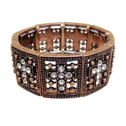 Crystal Cross Stretch Bracelet, Copper - This. Bracelet Has 9 Clear Crystal Crosses With Antiqued Copper Plating - The Perfect Faith Statement Gift