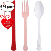 Tiger Chef Red, Pink and White Valentine Flatware Party Supplies, Heavyweight Coloured Plastic Silverware Includes 192 Forks, 192 Teaspoons, and 192 Knives