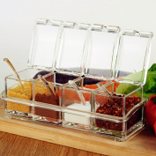 Clear Seasoning Rack Spice Pots From ME.FAN™ - 4 Piece Acrylic Seasoning Box - Storage Container Condiment Jars - Cruet with Cover and Spoon