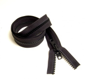 Zipper Chain, #5, Vislon Moulded Tooth w/ (1) Double Metal Tab Slider, 90cm Black - Sold By The Yard