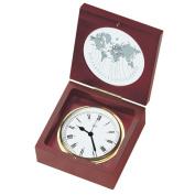 BARIGO Quartz Ship Clock in a Box - Brass & Mahogany - 10cm Dial