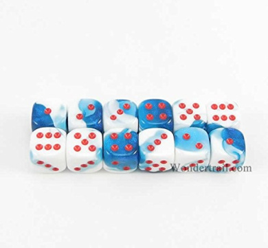 WCX26857E12 Astral Blue And White With Red Pips 12mm D6 Dice Gemini Pack of 12 Dice