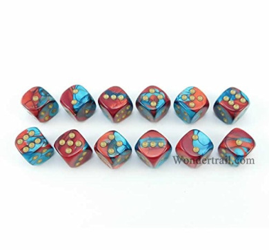 WCX26862E12 Red and Teal With Gold Pips 12mm D6 Dice Gemini Pack of 12 Dice