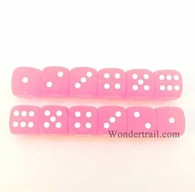 WCX27864E12 Pink Frosted Dice 12mm D6 12pc White Pips Chessex