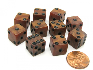Set of 10 D6 12mm Olypmic Pearlized Dice - Bronze with Black Pips